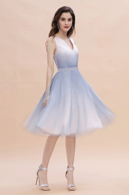 Elegant Gradient V-Neck Evening Party Dress A-line Daily Wear Short Dress