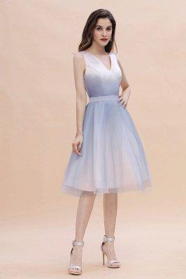 Elegantes Abendkleid mit V-Ausschnitt und Farbverlauf A-Linie Tägliches kurzes Kleid_6