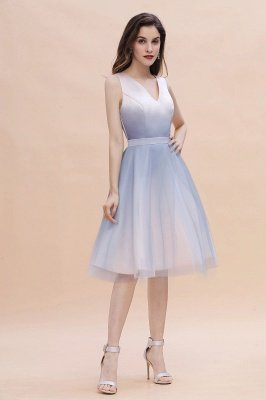 Elegant Gradient V-Neck Evening Party Dress A-line Daily Wear Short Dress_6
