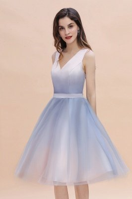 Elegant Gradient V-Neck Evening Party Dress A-line Daily Wear Short Dress_9
