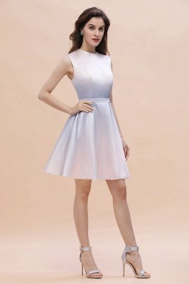 Gradient Elegant Mini Daily Wear Dress A-line Crew neck Sleveless Party Dress_5
