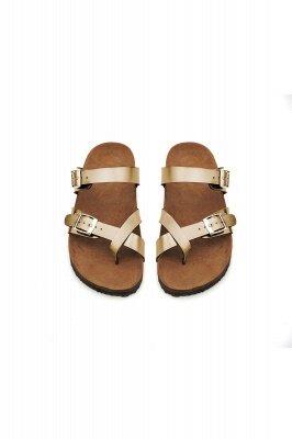 Damen Cork Slides Sandalen Verstellbare flache Sandalen mit Doppelschnalle für Damen Slide_4