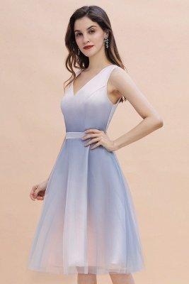 Elegantes Abendkleid mit V-Ausschnitt und Farbverlauf A-Linie Tägliches kurzes Kleid_5