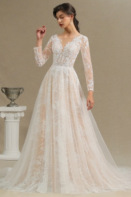 Glamorous Ivory Lace Appliques Wedding Dress Tulle Long Sleeve Bridal Gowns_11