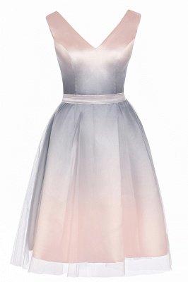 Elegantes Abendkleid mit V-Ausschnitt und Farbverlauf A-Linie Tägliches kurzes Kleid_12