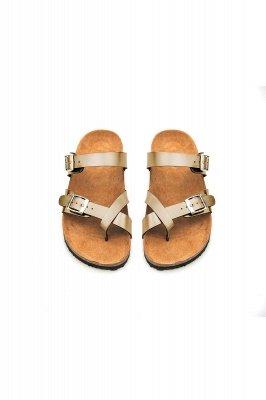 Damen Cork Slides Sandalen Verstellbare flache Sandalen mit Doppelschnalle für Damen Slide_12