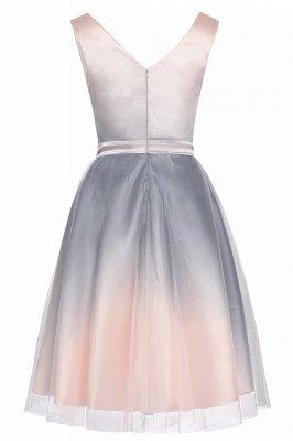 Elegantes Abendkleid mit V-Ausschnitt und Farbverlauf A-Linie Tägliches kurzes Kleid_11