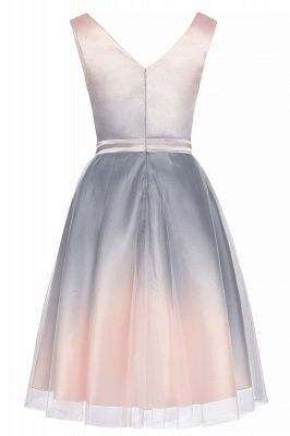 Elegant Gradient V-Neck Evening Party Dress A-line Daily Wear Short Dress_11