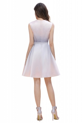 Gradient Elegant Mini Daily Wear Dress A-line Crew neck Sleveless Party Dress_7