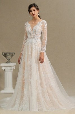 Glamorous Ivory Lace Appliques Wedding Dress Tulle Long Sleeve Bridal Gowns_2
