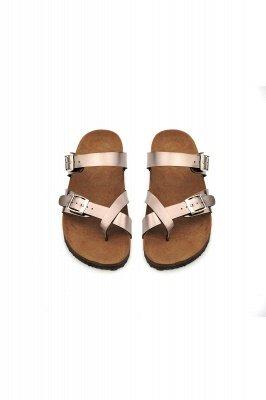 Damen Cork Slides Sandalen Verstellbare flache Sandalen mit Doppelschnalle für Damen Slide_6