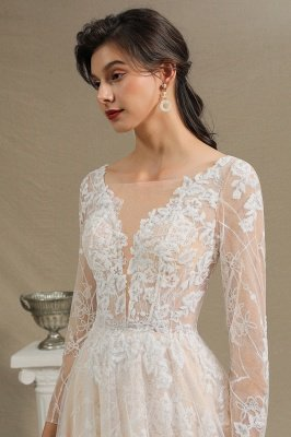 Glamorous Ivory Lace Appliques Wedding Dress Tulle Long Sleeve Bridal Gowns_5
