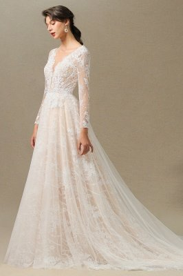 Glamorous Ivory Lace Appliques Wedding Dress Tulle Long Sleeve Bridal Gowns_6