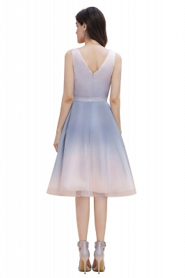 Elegantes Abendkleid mit V-Ausschnitt und Farbverlauf A-Linie Tägliches kurzes Kleid_8