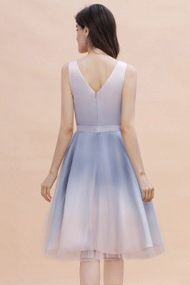 Elegant Gradient V-Neck Evening Party Dress A-line Daily Wear Short Dress_3