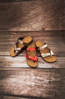 Women's Cork Slides Sandals Adjustable Double Buckle Flat Sandals for Women Slide