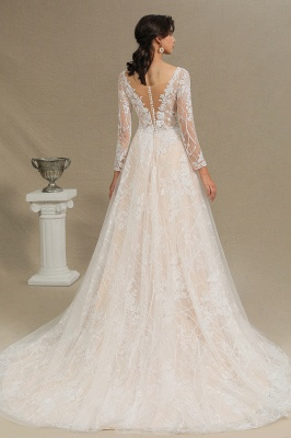 Glamorous Ivory Lace Appliques Wedding Dress Tulle Long Sleeve Bridal Gowns_4
