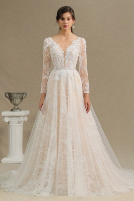 Glamorous Ivory Lace Appliques Wedding Dress Tulle Long Sleeve Bridal Gowns_3
