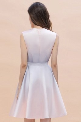 Gradient Elegant Mini Daily Wear Dress A-line Crew neck Sleveless Party Dress_9