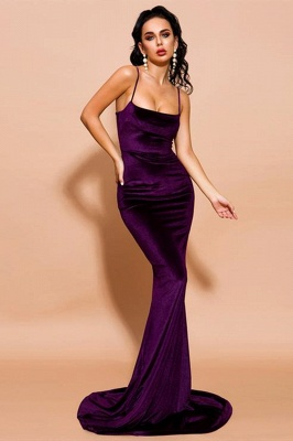 Stylish Spaghetti Straps Velvet Mermaid Prom Dress Backless Evening Dress_1