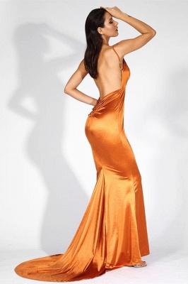 Stylish V-Neck Stretch Satin Prom Dress Mermaid Spaghetti Straps Backless_3