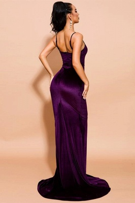 Stylish Spaghetti Straps Velvet Mermaid Prom Dress Backless Evening Dress_3