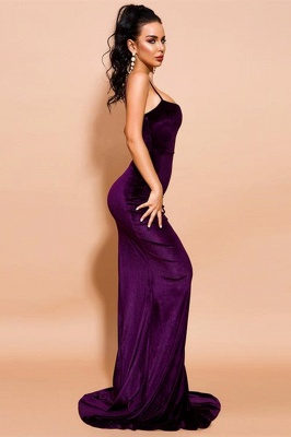 Stylish Spaghetti Straps Velvet Mermaid Prom Dress Backless Evening Dress_4