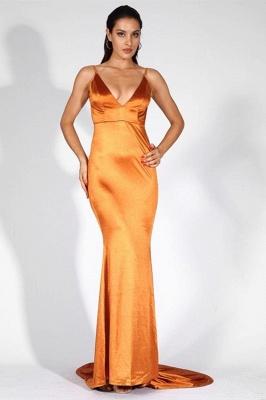 Stylish V-Neck Stretch Satin Prom Dress Mermaid Spaghetti Straps Backless_4
