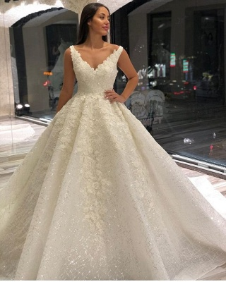 Luxury Lace Appliques Straps A-line Ball Gown Wedding Dress_2