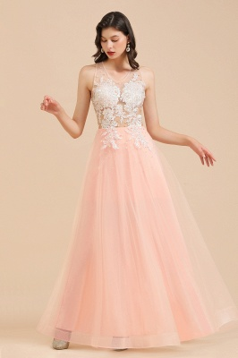 Elegant V-Neck Lace Appliques A-line Evening Maxi Dress Sleeveless_6