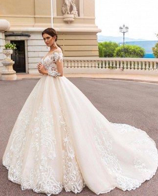 Glamorous Sweetheart Appliques Lace Tulle Ball Gown Wedding Dress_3
