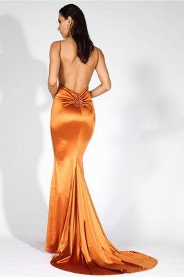 Stylish V-Neck Stretch Satin Prom Dress Mermaid Spaghetti Straps Backless_2