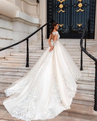Glamorous Sweetheart Appliques Lace Tulle Ball Gown Wedding Dress_2