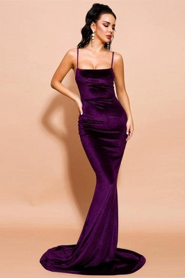 Stylish Spaghetti Straps Velvet Mermaid Prom Dress Backless Evening Dress_2