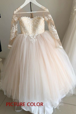 Princess Flower Girls Dress Tulle Long-Sleeve Lace Gown Romantic_2