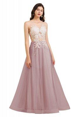 Elegant V-Neck Lace Appliques A-line Evening Maxi Dress Sleeveless_2