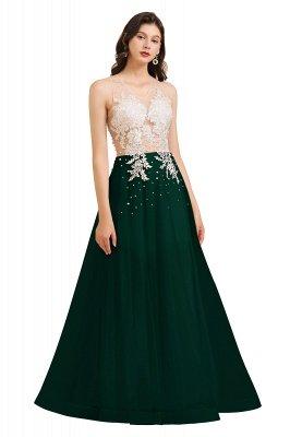 Elegant V-Neck Lace Appliques A-line Evening Maxi Dress Sleeveless_4