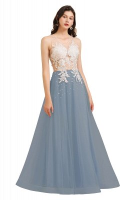 Elegant V-Neck Lace Appliques A-line Evening Maxi Dress Sleeveless_5