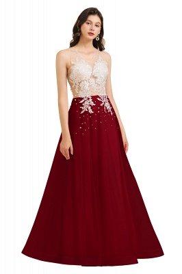 Elegant V-Neck Lace Appliques A-line Evening Maxi Dress Sleeveless_3