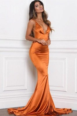 Stylish V-Neck Stretch Satin Prom Dress Mermaid Spaghetti Straps Backless