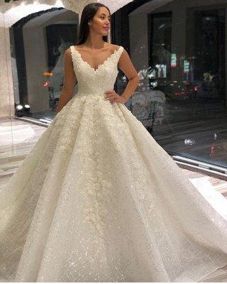 Appliques en dentelle de luxe bretelles A-ligne robe de mariée robe de bal_2