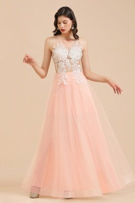Elegant V-Neck Lace Appliques A-line Evening Maxi Dress Sleeveless