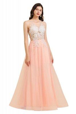 Elegant V-Neck Lace Appliques A-line Evening Maxi Dress Sleeveless_1