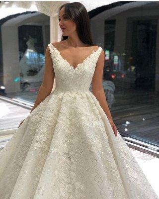 Appliques en dentelle de luxe bretelles A-ligne robe de mariée robe de bal_3
