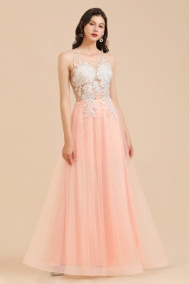 Elegant V-Neck Lace Appliques A-line Evening Maxi Dress Sleeveless_7