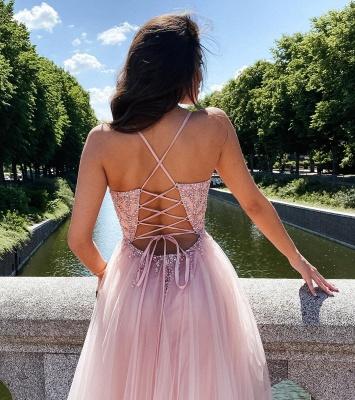 Stilvolle Träger Tüll Abend Maxikleid Romantisches Prom-Kleid mit V-Ausschnitt_3