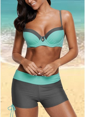 Color Block Patches Underwire Push Up Padded Sexy Bikini_3