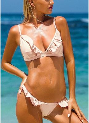 Frilly Ruffles Self-tie Backless Low Waist Bikini Set_1