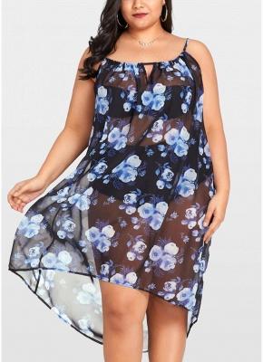2xl Women Sheer Chiffon Floral Sexy Bikini Cover Up Transparent Asymmetric Beachwear Mini Dress_1