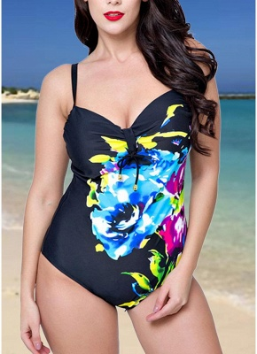 Plus Size One Piece Swimsuit Floral Underwire Push Up Monokini_1